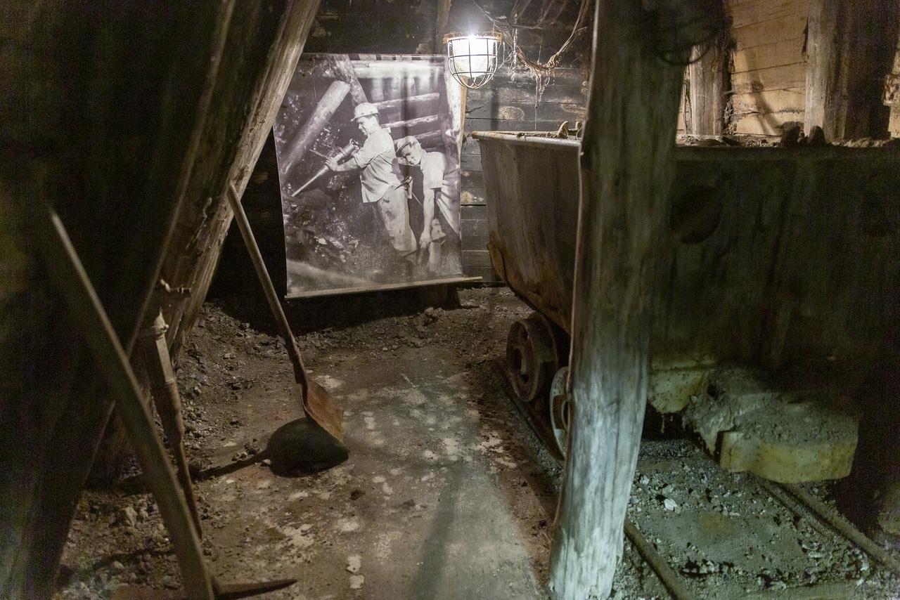 """Nincs bányaskanzen bejárható tárnák nélkül, így a tatabányai múzeumban is berendeztek egy valósághű földalatti munkaterületet, ahová egy rövid """"lejtős aknán"""" lehet lesétálni. A látogatók itt megsimerkedhetnek a szénbányászat eszközeivel, a tárnák, vágatok felépítésével, miközben rejtett hangszórókból a földalatti munka eredeti zajai szólnak – a kissé hátborzongató, kellőképp hatásos felvételeket az igazi szénbányában készítették a múzeum szakemberei még a bezárás előtti időszakban."""