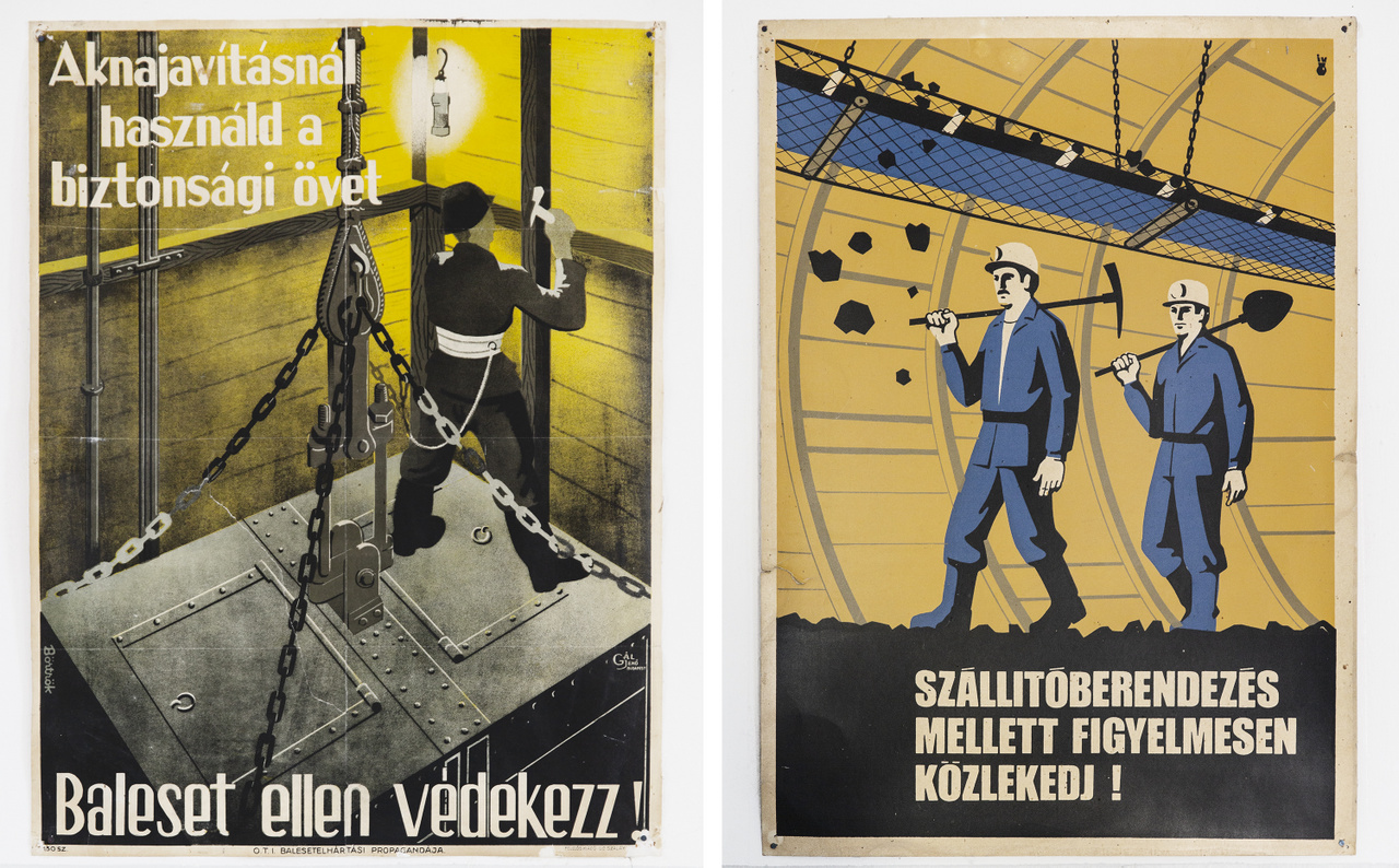 A falézteremben eredeti, 60-as évekbeli munkavédelmi plakátok figyelmeztetnek a balesetvédelmi előírások betartására, a figyelmes munkavégzés fontosságára..