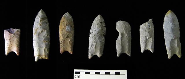 Iowában talált clovis nyílhegyek