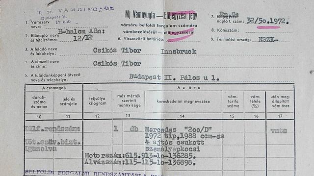 Vámpapír 1972-ből