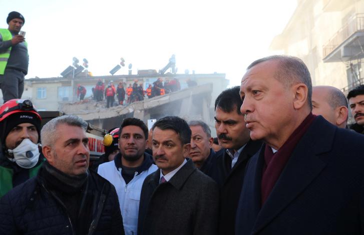 Recep Tayyip Erdogan Elazig tartományban 2020. január 25-én.