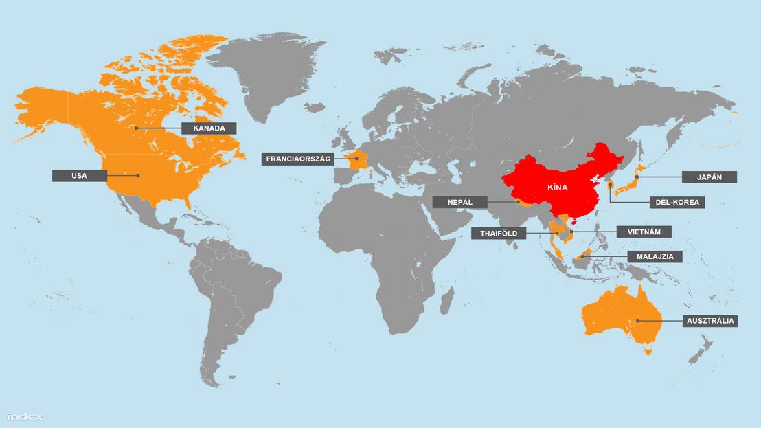 Regisztrált koronavírus esetek Kínán kívül. Forrás: BBC