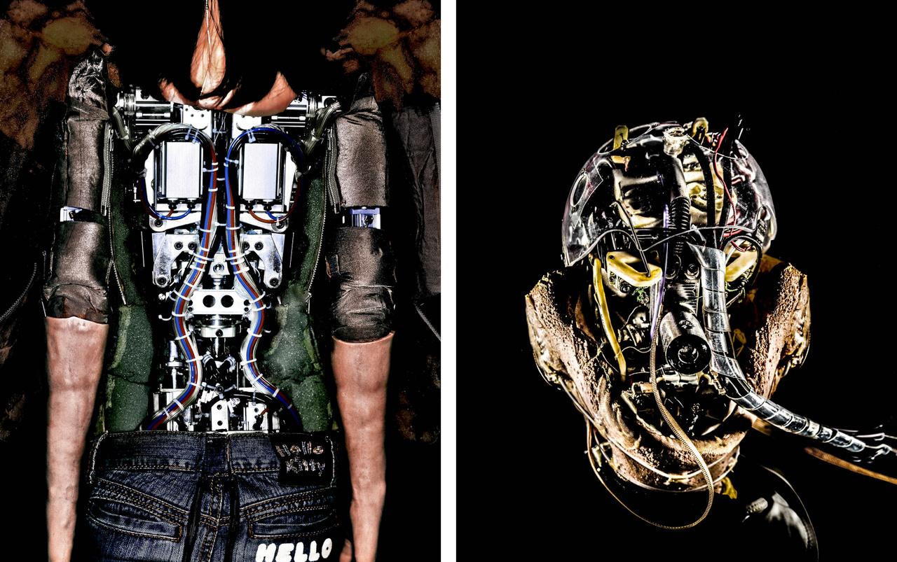 A robotok felépítése gyakran emlékeztette a fotós az emberi testre, a zsinórok pedig érhálózatra.