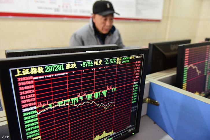 Befektető követi a tőzsdei változásokat egy fuyangi értékpapír-társaság irodájában 2020. január 23-án