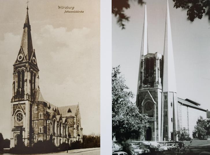 A würzburgi Szent János-templom a háború előtt és a helyreállítás után. A csonka tornyot emlékműként foglalták bele az új épületbe.