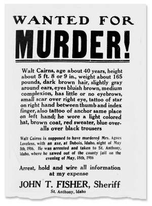 A Loveless szökése után kiadott körözési plakát