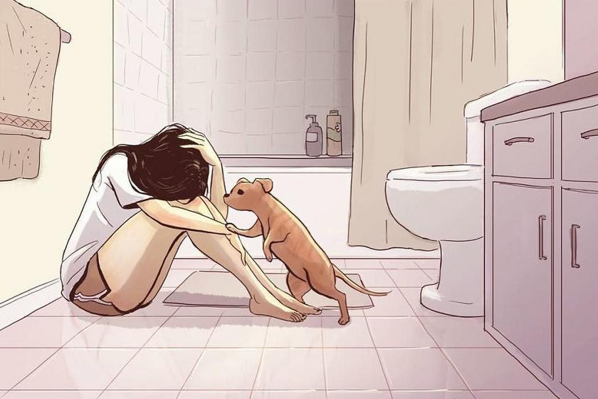A kutyák tudják, ha a gazdi szomorú, és mindent megtesznek, hogy megvigasztalják őt. A legrosszabb pillanatokba is boldogságot csempésznek, és segítenek elfelejteni a problémákat.