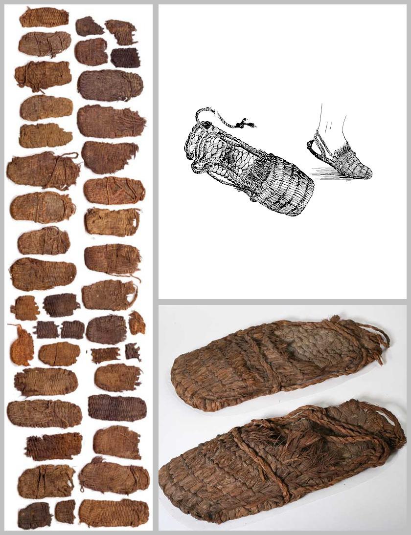 A több hasonló darab között egyetlen pár volt teljes, ráadásul a jobb és bal egymás mellett pihent évezredekig. Szakértők szerint a szandál pántját a boka körül kellett megtekerni, majd a másik oldalon rögzíteni.