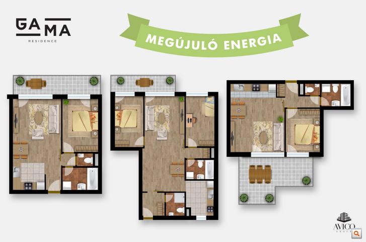 Okosotthonok és Megújuló energia a két kedvenc szavunk a változatos lakásalaprajzok mellett.
