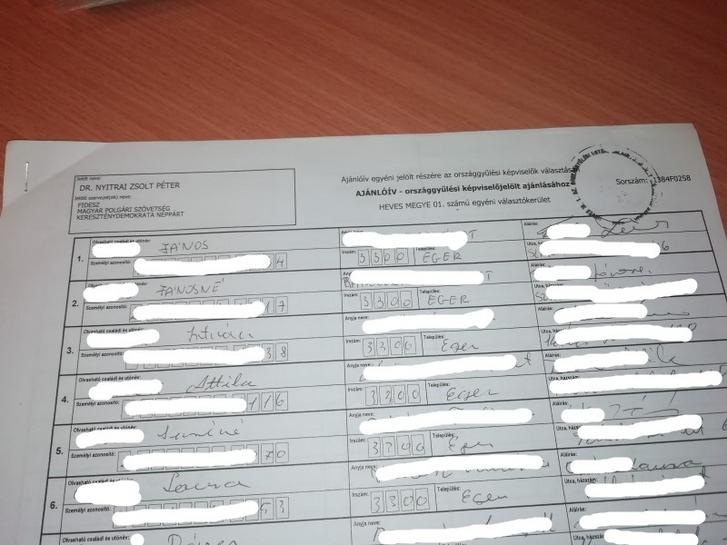 Nyitrai Zsolt 2014-es választási ajánlóíveinek fénymásolt példányai a 2019-ig fideszes vezetés alatt álló egri városházán