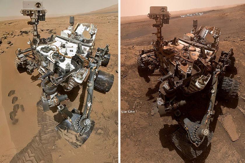 A Curiosityn látszanak az évek: ilyen volt 2012 augusztusában, amikor a Marsra megérkezett, és most, 7 évvel később.