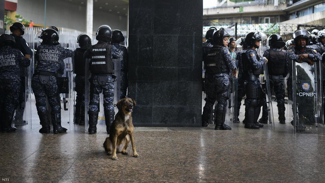 Venezuelai rendõrök védik a parlament épületét