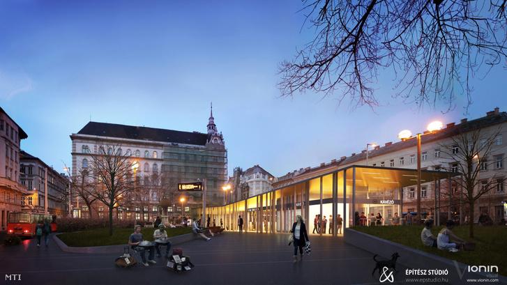 Az Építész Stúdió Kft. által 2015. március 4-én közreadott látványterven az Arany János utcai metrómegálló terve látható.