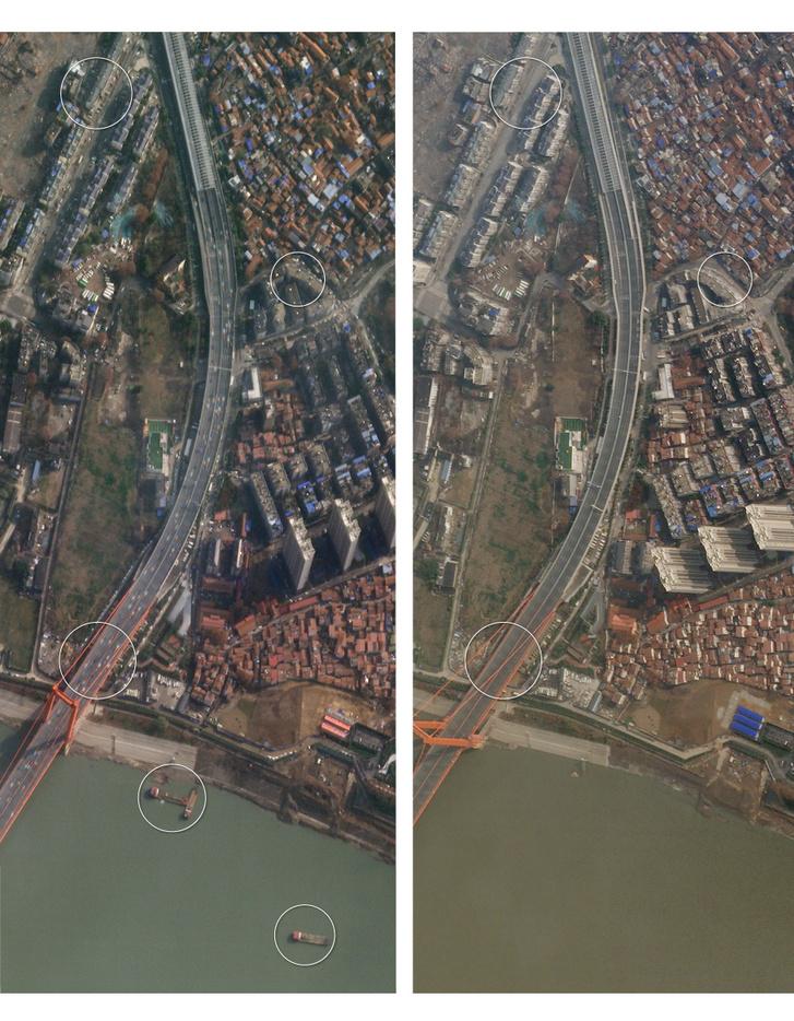A Jangcén átívelő hídra vezető főút. Balra: január 12-én, jobbra: január 28-án.