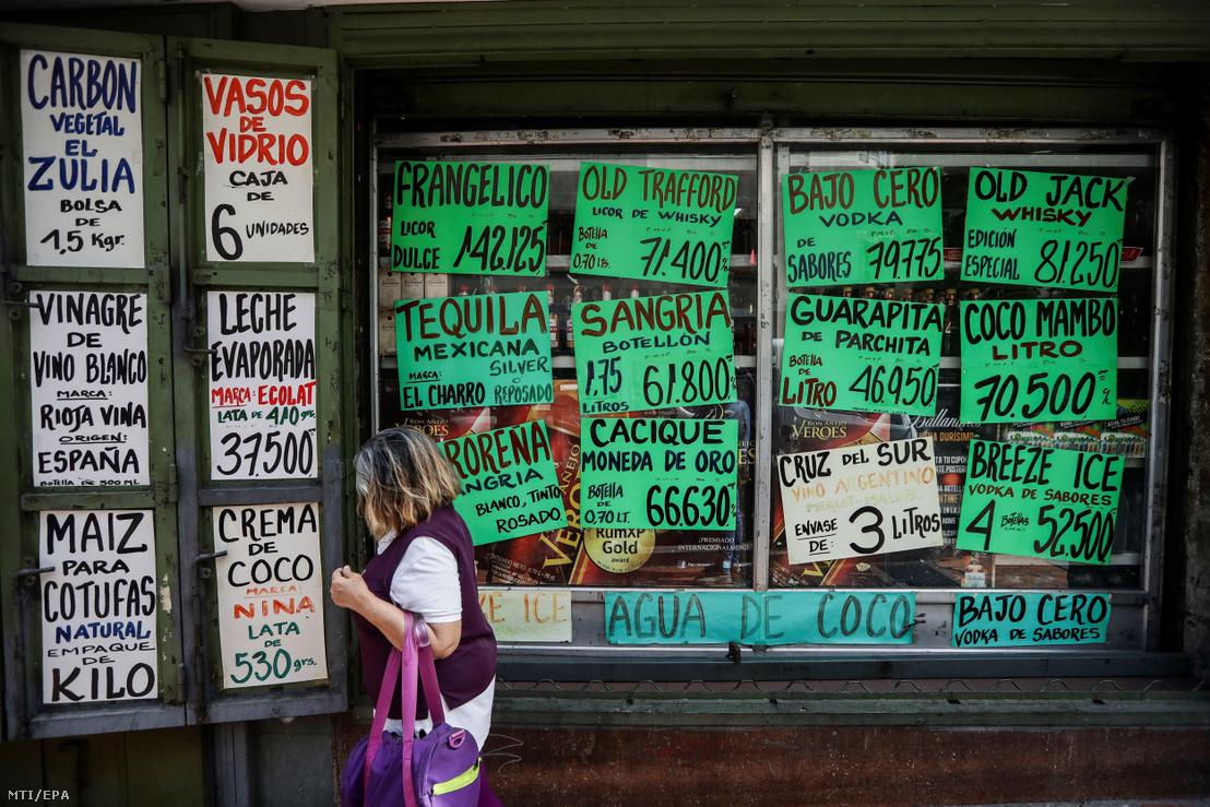 Caracasi élelmiszerüzlet árai
