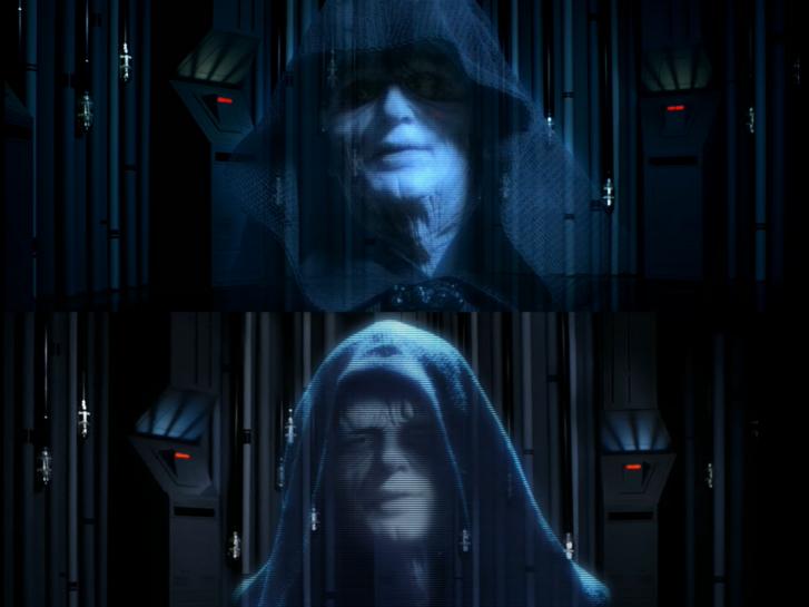 """Felül """"A Birodalom visszavág"""" Blue Ray kiadása, alul az újrajátszott verziójában látható Palpatine szenátor"""