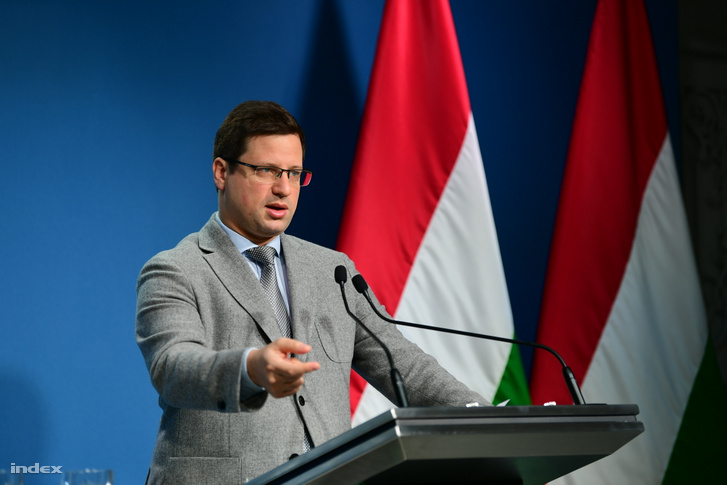 Chief of Staff Gergely Gulyás speaking at the government's weekly press conference on 30 January 2020.