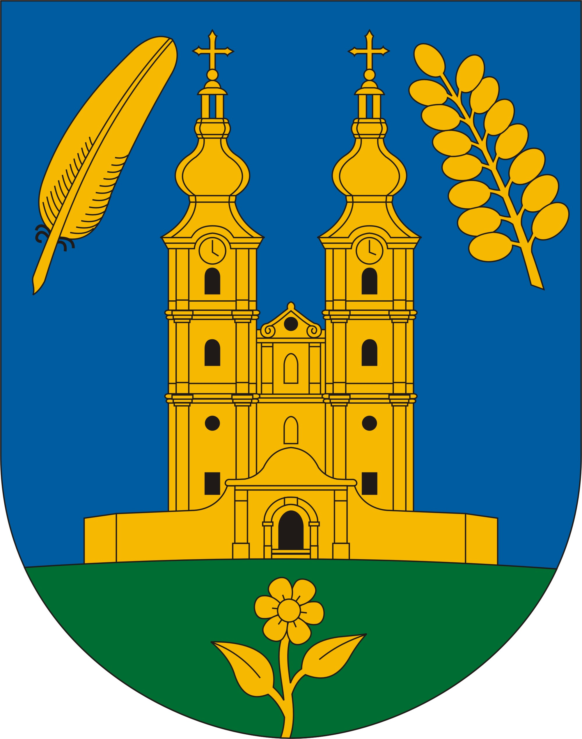 Melyik zarándokhelyünk híres épülete szerepel a címeren?