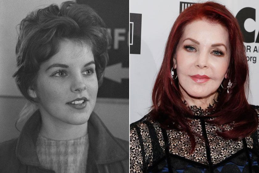 Priscilla Presley 1960-ban és napjainkban. Az egykor gyönyörű színésznő a plasztika rabjává vált.