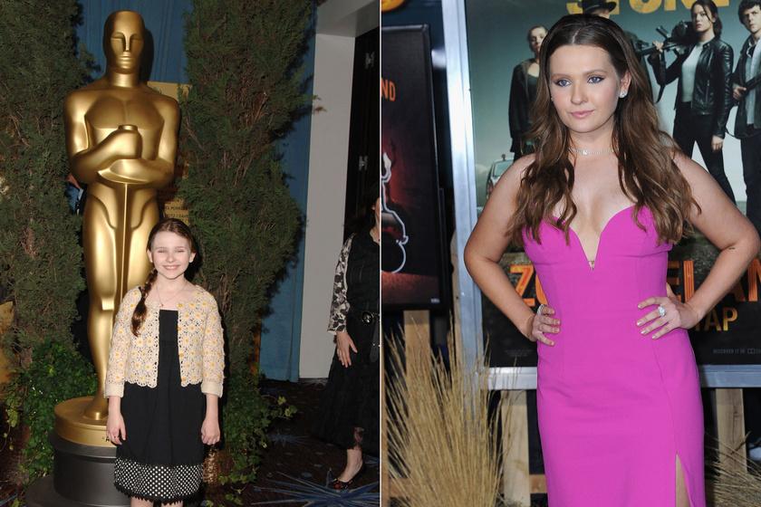 A bal oldalon Abigail Breslin 2007-ben pózolt az Oscar-díjátadón, jobb oldalon pedig legutóbbi filmje, a Zombieland: A második lövés premierjén 2019-ben.