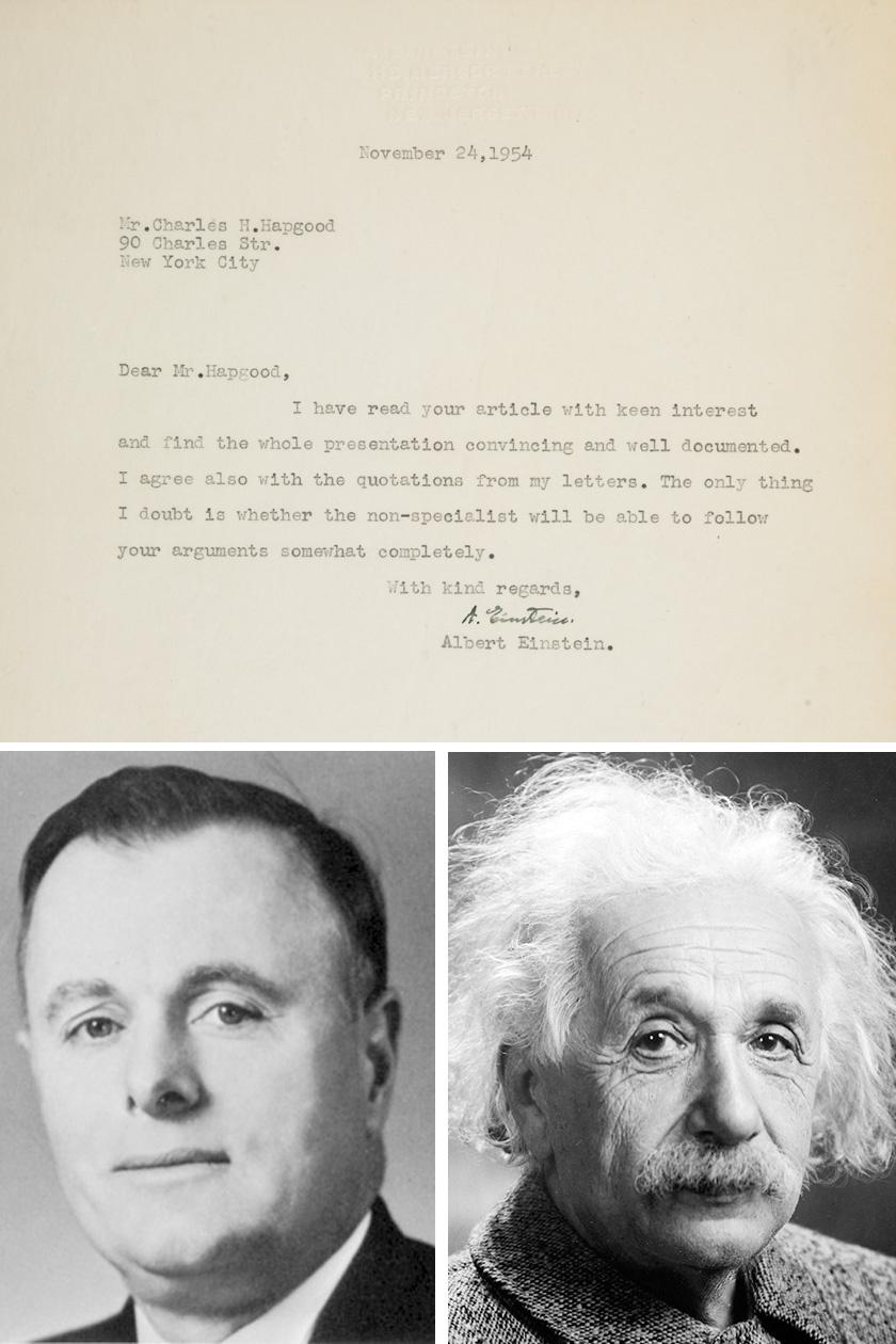 Fent Einstein értékelése Hapgoodnak, lent a két tudós fotója.