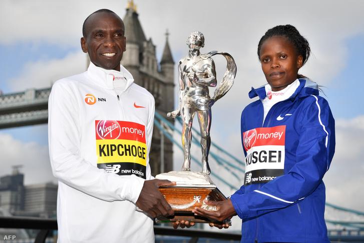 Eliud Kipchoge és Brigid Kosgei a 2019-es London Maratonon