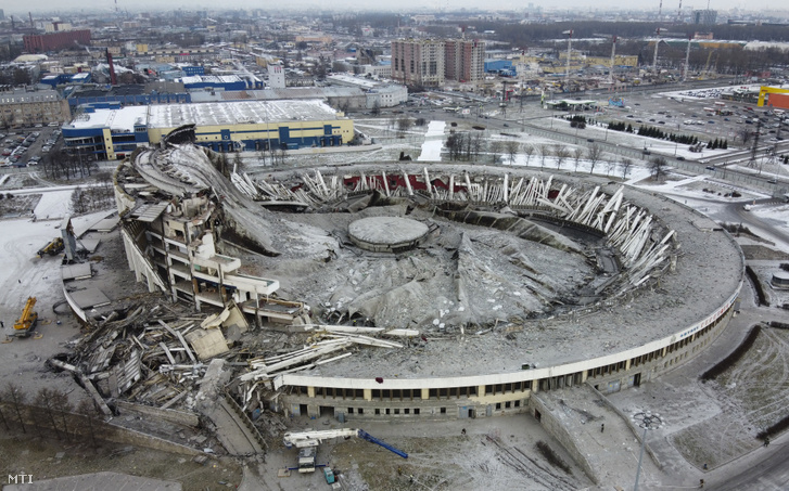 A részben leomlott Peterburgszkij stadion Szentpéterváron 2020. január 31-én
