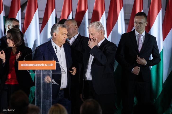 Novák Katalin, Orbán Viktor, Tarlós István és Szíjjártó Péter a Fidesz eredményváró rendezvényén a budapesti Bálnában, 2019. október 13-án