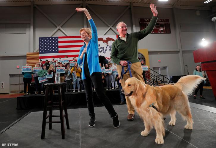 Elizabeth Warren férjével és Bailey