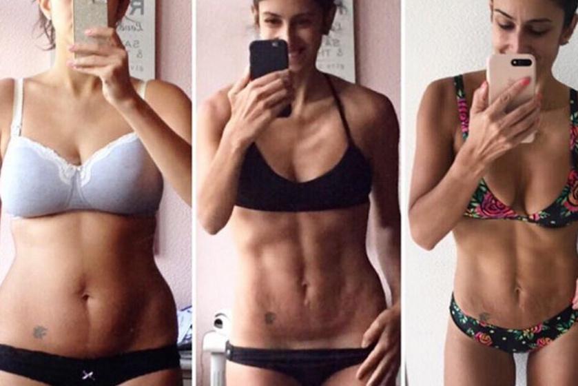 Nikki fogyókúra helyett az izomépítésre fektetett nagy hangsúlyt, ez pedig az előtte-utána fotóin is meglátszik: az első képen 63, a másodikon 56, a harmadikon pedig ismét 63 kiló.