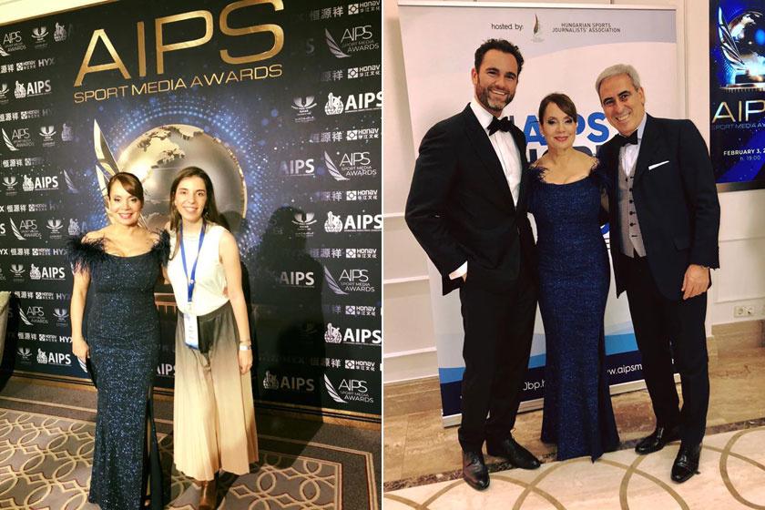 Csisztu Zsuzsa a Nemzetközi Sportújságíró Szövetség (AIPS) 83., budapesti kongresszusának keretében megtartott díjátadó ünnepségen egy kék, csillogó estélyiben jelent meg.