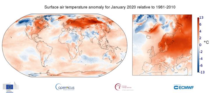 A 2020 januári globális és európai hőmérsékleti anomália térképen