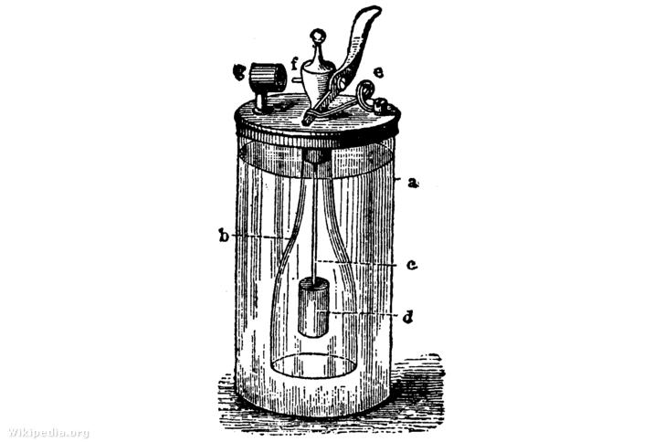 Döbereiner-lámpa részei: a. üveg cilinder, b: nyitott üveg, c: vezeték, d: cink, e: zárócsap, f: fúvóka, g: platina szivacs