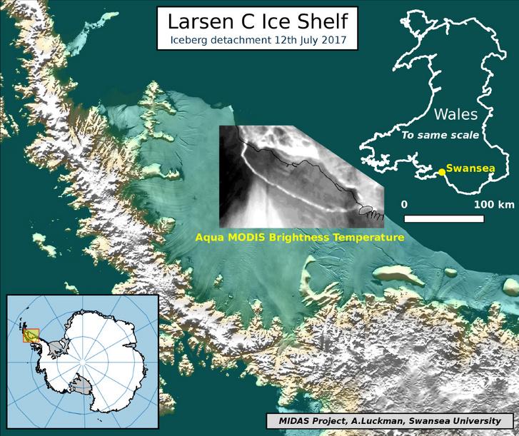 2017-es térkép a levált jéghegy pozíciójáról