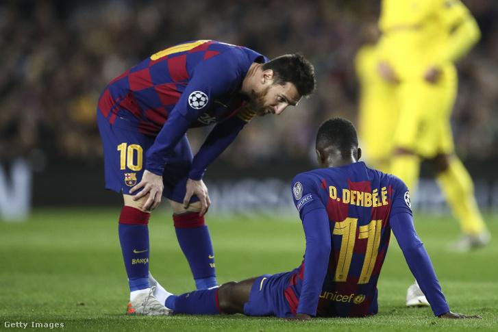 A barcelonai Ousmane Dembelé 2019. november 27-én sérült meg a Borussia Dortmund elleni meccsen.