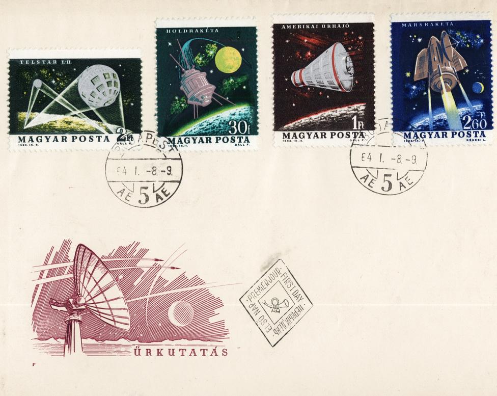 A Telstar-I és -II (és az űrkutatás más fontos állomásai) magyar bélyegen. Bélyegtervező grafikus: Gáll Ferenc.