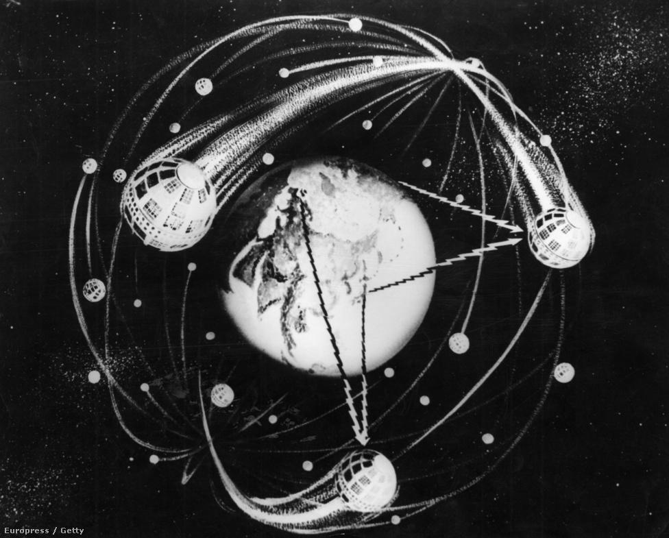 1962-es művészi koncepciórajz a Föld körül keringő kommunikációs műholdról.
