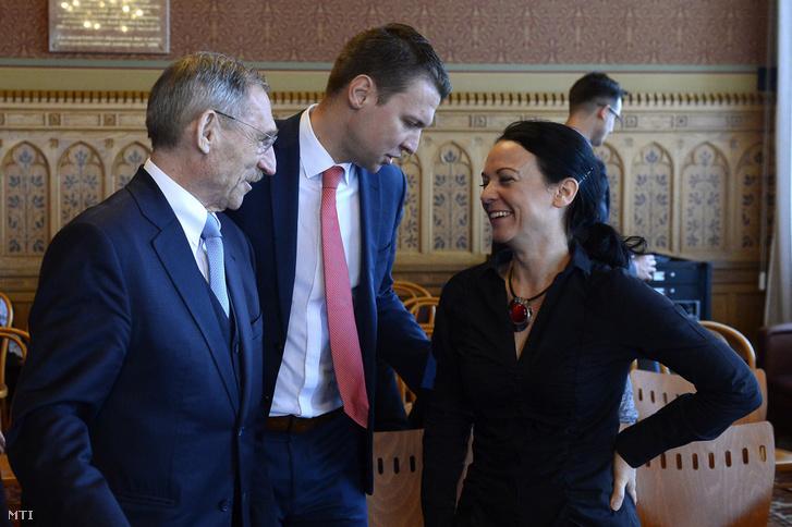 Pintér Sándor, Menczer Tamás és Szabó Tímea az Országgyűlés népjóléti bizottságának ülésén a Parlament Széll Kálmán teremében 2020. február 7-én.