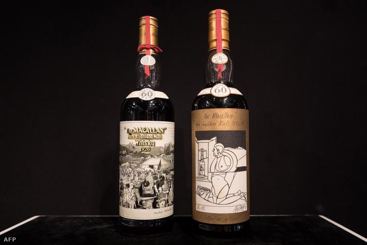 Macallan Peter Blake 1926 (balra) és Macallan Valerio Adami 1926-os whisky a Bonhams 2018-as aukcióján Hongkongban