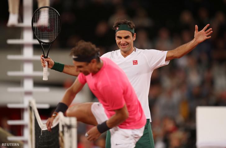 Federer és Nadal jótékonysági teniszmérkőzésen Fokvárosban 2020. február 7-én