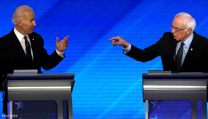 Joe Biden (balra) és Bernie Sander vitája a pénteki elnökjelölt-aspiráns adásban