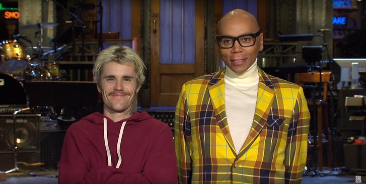 Justin Bieber és RuPaul az SNL promójában.