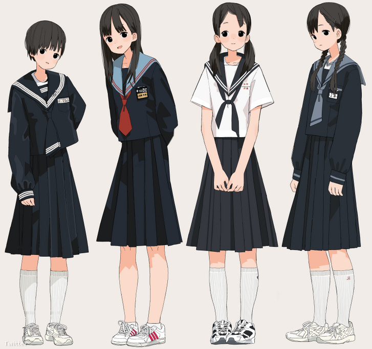 Tengerész-egyenruhás manga-lányok