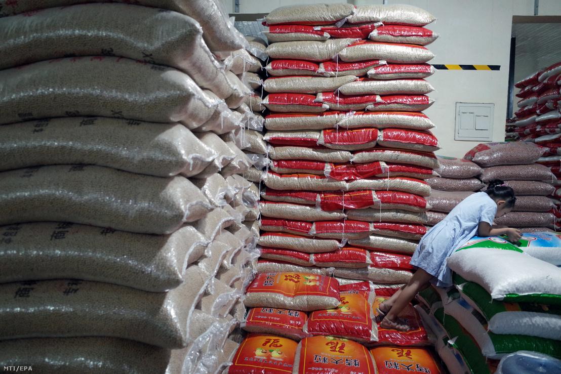 Szójababot tartalmazó zsákok egy pekingi nagybani piacon 2019. augusztus 6-án. Az előző nap Kína leállította az amerikai agrártermékek importját, mert augusztus 1-jén Donald Trump amerikai elnök elrendelte, hogy szeptember 1-jétől 300 milliárd dollár értékű kínai árura 10 százalékos pótlólagos importvámot vessenek ki.