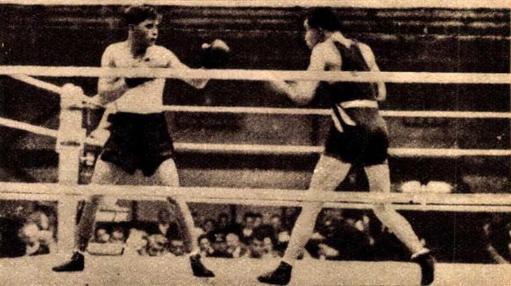 Kocsis Antal, a kisközépsúlyú ökölvívás olimpiai bajnoka legyőzi a német Ausböcköt. Forrás: Magyarság Évkönyve 1920-1930 / Arcanum adatbázis