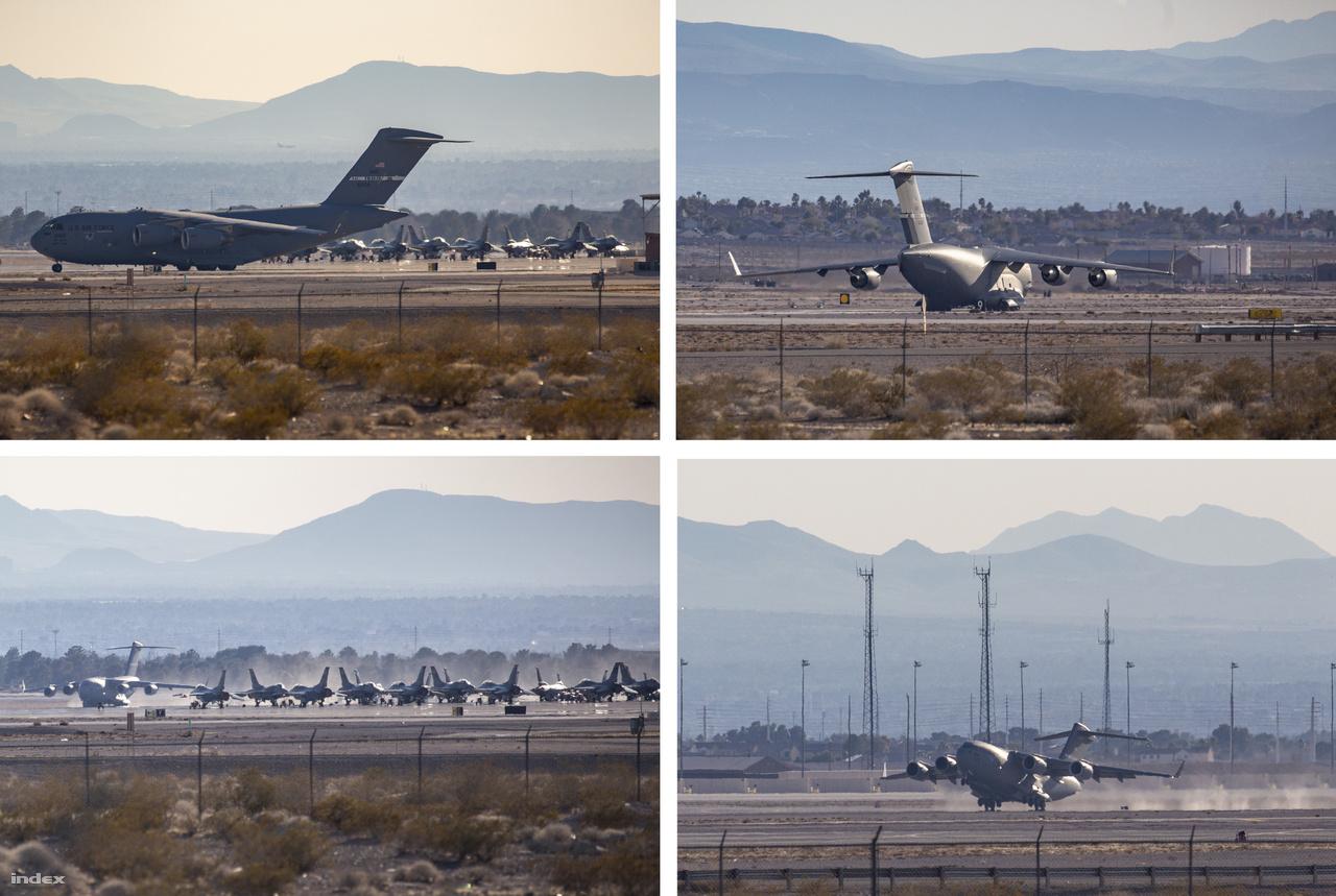 Hoppá, végre történt valami! Mintegy három órával azután, hogy először megpillantottam függőleges vezérsíkíját, a C-17 lomhán kigurult a hangárok közül és vagy tíz perces taxizás végén elemelkedett a Nellis légibázis betonszalagjáról.