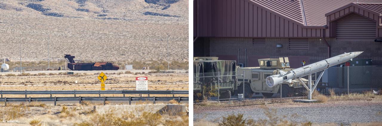 Ahogy caplattam egyre keletebbre a bázis véget nem érőnek tűnő kerítése mellett, két érdekességre lettem figyelmes. A távolban egy rozsdás repülőgéproncs vonzotta magára a tekintetemet. A roncs a reptéri tűzoltócsapat (99th Civil Engineer Squadron) és civil tűzoltóságok készenléti gyakorlatainak egyik helyszíne, itt szoktak repülőgép-baleseteket szimulálni, katasztrófahelyzeti tűzoltást gyakorolni. A gép típusa gyakorlatilag fölismerhetetlen, a törzse valamikor egy katonai szállítógépé volt, a szárnyakat, a hajtóműveket, a farokrészt más-más gépektől kölcsönözték, egyfajta röpképtelen Frankenstein-szörnyet alkotva, amit évente többször is fölgyújtanak, propánpokollá téve a bázisnak ezt a távoli szegletét. A drótkerítés mögött veszteglő Humvee (High Mobility Multipurpose Wheeled Vehicle) katonai terepjáró is érdekes a maga módján, de a kerítés előtt kiállított rakéta picivel izgalmasabb: amit láttam, az nem más, mint egy Sz–75 (NATO-kódja SA–2), 50-es években kifejlesztett szovjet közepes hatótávolságú, kétfokozatú légvédelmi rakéta második fokozata (mivel az első fokozatától és a fő stabilizátor szárnyaitól is megfosztották, nem könnyű felismerni). A szovjet föld-levegő rakéta egykor az ellenséges fenyegetésekkel kapcsolatos pilótaképzés oktatóeszköze volt.