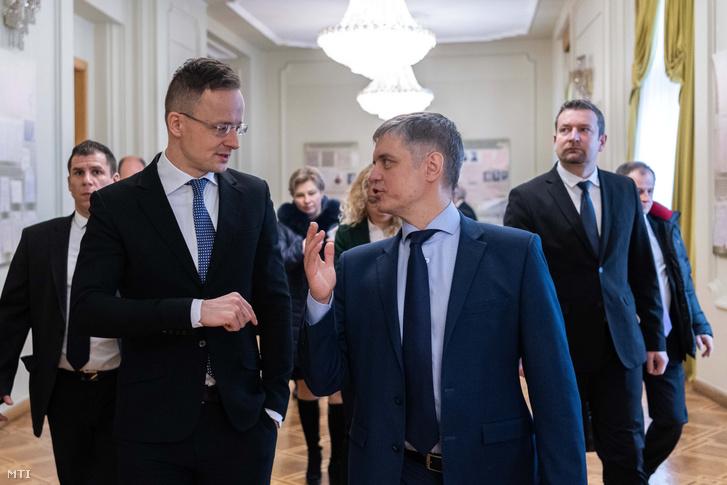 Szijjártó Péter külgazdasági és külügyminiszter és Vadim Prisztajko ukrán külügyminiszter találkozója Kijevben 2020. február 7-én.