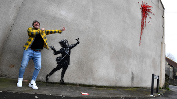 Máris megtalálták a vandálok Banksy Valentin-napi falfirkáját