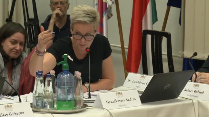 Gyurákovics Andrea a képviselő-testület ülésén